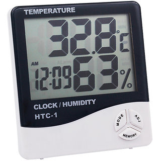 Digital LCD Thermometer Temperature Humidity Meter 1)With Clock Calendar Alarm (Pack of 1) Assorted color