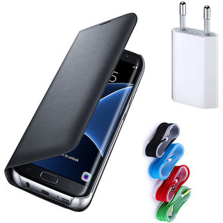 Samsung Galaxy On5 Black Leather Flip Cover with Nylon Braided USB Travel Charger