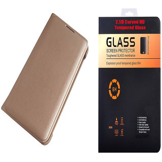 Oppo A37 Golden Leather Flip Cover with 9H Curved Edge HD Tempered Glass