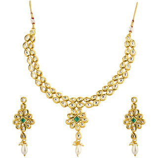 ee3e4cc53ad Buy Jewels Galaxy Splendid Kundan Studded Florets Design Brilliant Gold  Plated Traditional Necklace Set For Women Girls Online - Get 74% Off