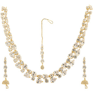 Jewels Galaxy Limited Edition Exclusive Glitzy Wonderful Coral Necklace Set with Maang-Tika for Women/Girls
