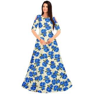 Aika Womens Roshni Blue Bhagalpuri Printed Semi-Stitched Gown