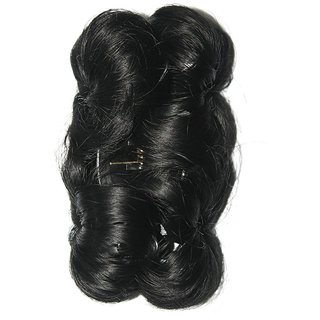 Funky Bun 4 Inch Hair Extension With Clutcher Hair Accessories (Natural Black)