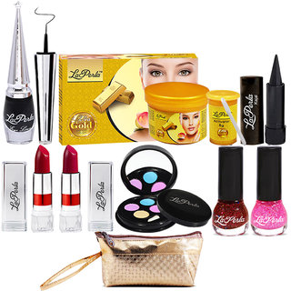 Laperla Nail to Face and Eye Makeup Combo With Makeup Pouch Set of 9 GC581-By Adbeni