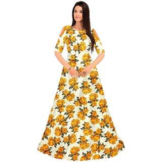 Aika Women's Roshni Yellow Bhagalpuri Printed Semi-Stitched Gown