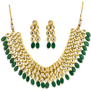 Jewels Galaxy Delicate Kundan Studded  Green Beads Multi-Strand Glistening Gold Plated Traditonal Necklace Set For Wome