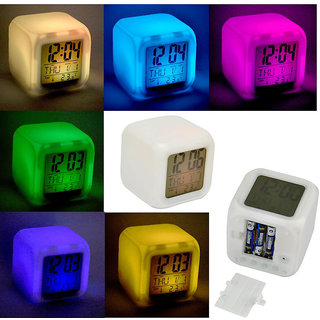 Digital Alarm Thermometer Night Digital Alarm Thermometer Night Glowing Cube 7 Colors Clock LED Change LCD (Pack of 1)