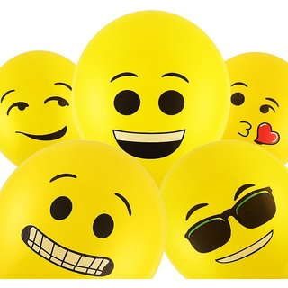 Smartcraft Emoji Balloons Latex Yellow Emoji Smiley Balloons (Pack of 25)