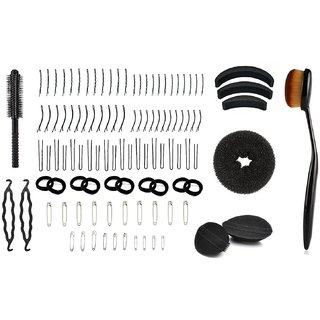 Out Of Box Combo Of 88 Pieces Hair Safety Pin,10 Piece Black Ribbed Elastic Wide Hair Rubber Band, Set Of 3 Hair Puff And Donut Bun Medium Size With 2 Velcro Puffs, One Round Hair Brush, One Foundation Powder Oval Blending Brush (Pack Of 108)