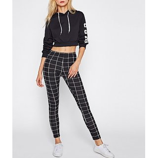 Code Yellow Women's Check Grid Stretchable Trendy Casual Tight's