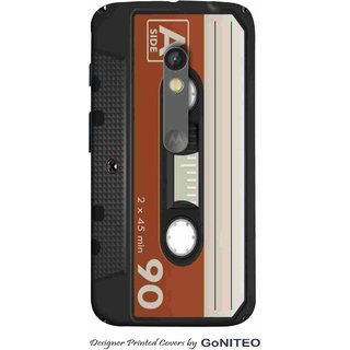 Printed Mobile Phone Back Cover Case for Moto X Play by GoNITEO || Cassette  || Audio || Music ||