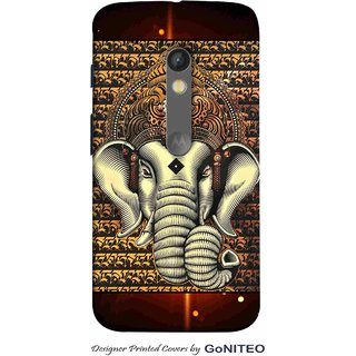 Printed Mobile Phone Back Cover Case for Moto X Play by GoNITEO || Ganpati || Idol || God ||