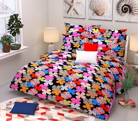 Choco Creation Gat Multi Flower Super Soft Polycotton Double Bedsheet With 2 Pillow Covers (PC-DBL-3D268)