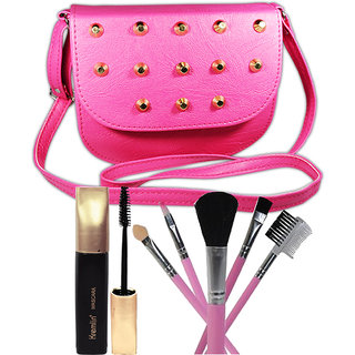 Super Deal 5in1 Makeup Brushes, Mascara With Stylish Hand Bag For Beautiful Gilrs Set of 7 GC585-By Adbeni