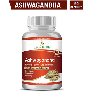 Leanhealth Ashwagandha Root Extract Acts As Anti-Anxiety  Herbal Capsules To Enhance Memory Focus Brain Function-60 capsules