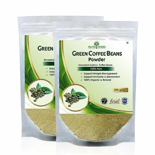 Nutriherbs 100 Pure And Organic Green Coffee Beans Powder - 400Gm (Pack Of 2)