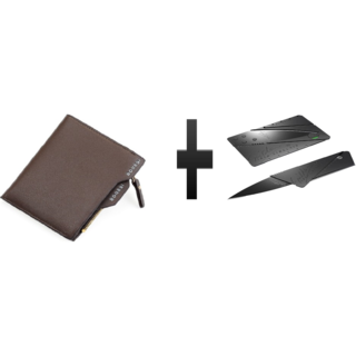 s4d Bogesi Leather Mens Wallet, Brown and card knife