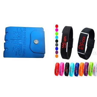 Unique Combo Of Blue PU Wallet + Digital Multicolor led Watch