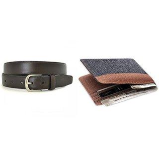 Unique Denim Wallet + Black Belt Combo ( Dw-032)
