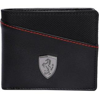 Puma men's black genuine leather wallet