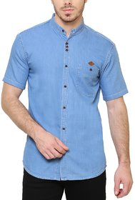 KACLHS1170 - Kuons Avenue Men's Solid Casual Denim Mandarin Collar Light Blue Shirt