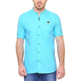 KACLHS1169 - Kuons Avenue Men's Solid Casual Cotton Mandarin Collar Light Blue Shirt