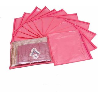 DIMONSIV Designer Single Packing Saree Cover 12pcs (pink)