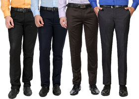 Pack of 4 Inspire Multicolor Slim Fit Trousers For Men