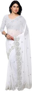 Aruna Sarees Women's White Embellished Chiffon Saree With Blouse
