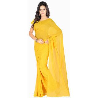 Aruna Sarees Women's Yellow Plain Chiffon Saree With Blouse