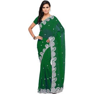 Aruna Sarees Women's Green Embellished Chiffon Saree With Blouse