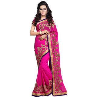 Aruna Sarees Women's Pink Embellished Chiffon Saree With Blouse