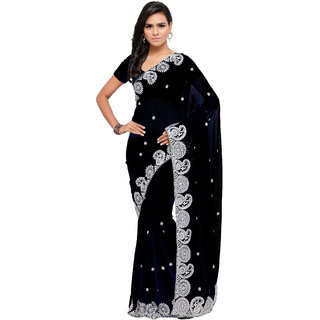 30c4bcc444b16 Buy Aruna Sarees Women s Black Embellished Chiffon Saree With Blouse ...
