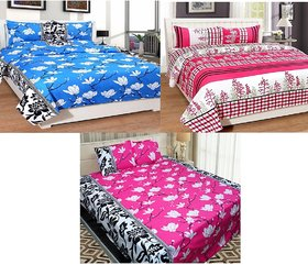 Urban Home Pack of 3 Glace Cotton Multicolor Floral King Size Double Bedsheet  With 6 Pillow Covers