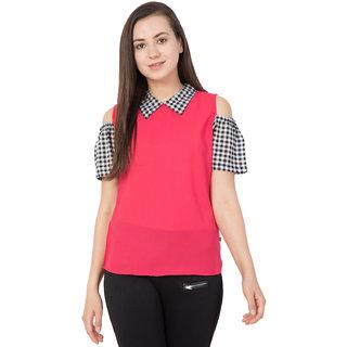 Mythya Womens Solid Pink Cold Shoulder Regular Fit Top
