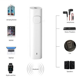 love4ride Pen Shape Car Bluetooth Audio Receiver Bluetooth 3.5mm Jack Car Kit (White/Black)