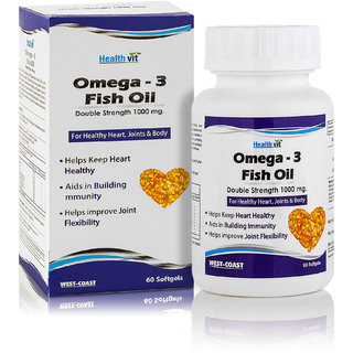 Healthvit Fish Oil 1000mg Double Strength EPA 180mg DHA 120mg 60 Softgels For Healthy Heart Joints Body