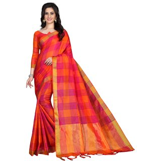 Fab zill Women's Orange Cotton Silk Saree with Blouse Piece
