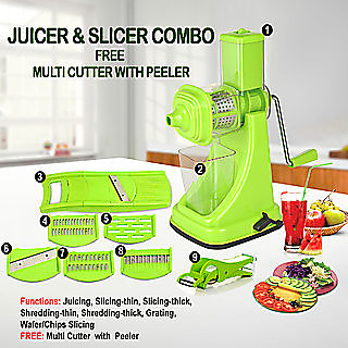 Nueva Standard Kitchen Combo Fruit Juicer With 6 In 1 Slicer and Multi Veg Cutter