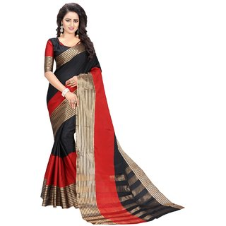 Fab zill Women's Black Poly Cotton Saree with Blouse Piece