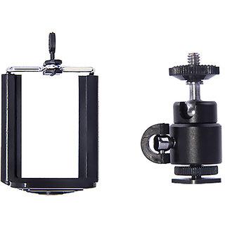 American Sia 1/4 Mini Hot Shoe Ball Head Camera Holder + Phone Holder Clap Kit for Ring Light Lamp