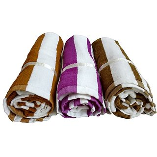 Terry Cotton Beautiful Bath Towel set of 3 (Assorted Color)