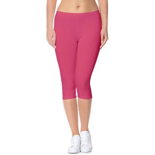 Lili Bio-Wash 220 GSM Premium Ultra Soft Calf Length Capri - Regular and Plus Size - 20+ Best Selling Colors - (Free Size)
