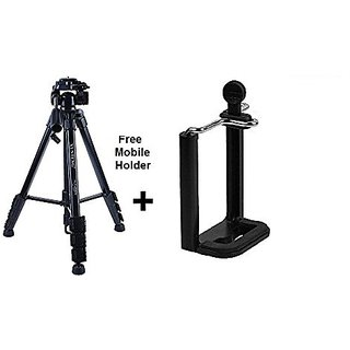 Yunteng Aluminium Tripod With Carry Case and Mobile Holder For DSLR - Vct-690 - Black
