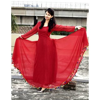 b17f81244c25 Buy Raabta Maroon Pom Pom Long Dress Online   ₹899 from ShopClues