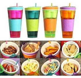 Trendz 2 in 1 Snack amp Drink Snackeez Travel Cup in One Container