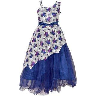 Padmashri International Girls Navy Blue Party wear Net  Frock