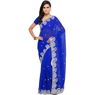 Aruna Sarees Women's Blue Embellished Chiffon Saree With Blouse