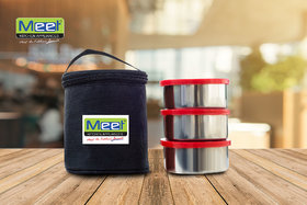 Meet Platinum Steel Lunch Box Set , 3 Piece - Black