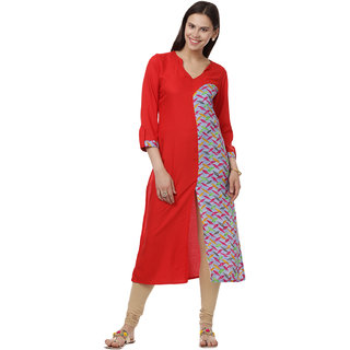 Su Sanskriti 3/4th Sleeves V-Neck A Line Kurtas